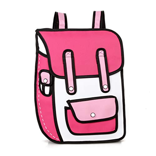 3D Jump Style 2D Drawing Cartoon Paper Bag Comic Backpack Messenger Tote Student Bags Unisex Bolos Hot Pink - Paper Denim Tuch