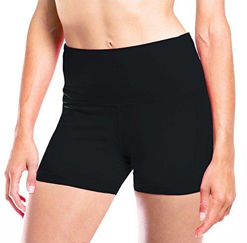 yogipace Damen Hohe Taille 7,6cm Hot Yoga Shorts WORKOUT Shorts Bikram kurz Booty Shorts Rückseite Handy Pocket Pass gedrungene/Bend Over Test, damen, schwarz -