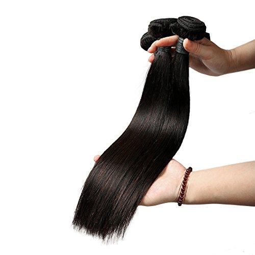 Lot de 3 extensions capillaires, cheveux brésiliens lisses 100 % humains et non traités Noir naturel 300 g au total (25-75 cm), taille 35, 40, 46 cm.