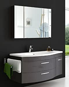 sam vena 2 pi ces ensemble de meubles de salle de bain anthracite avant et corps couleur miroir. Black Bedroom Furniture Sets. Home Design Ideas