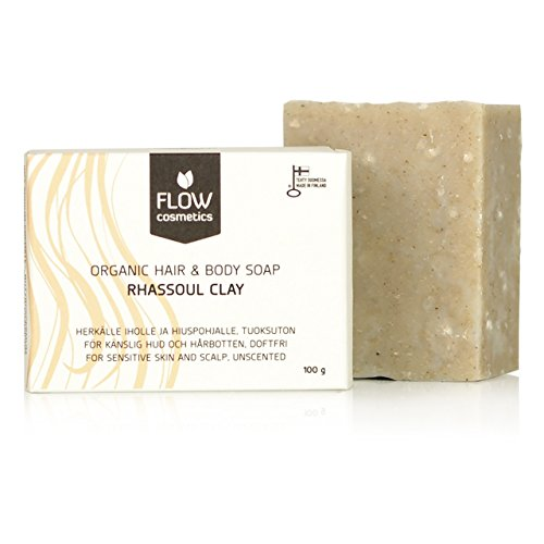 Flow Cosmetics Rhassoul Clay Hair & Body Shampoo Soap Bar | Unscented, made with organic ingredients | Sulphate Free & Preservative Free
