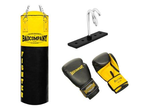 Fighter Box-Set inkl. Boxsack 100 x 35cm ungefüllt, PU Boxhandschuhe, Deckenhalterung und Heavy Duty Vierpunkt-Stahlkette