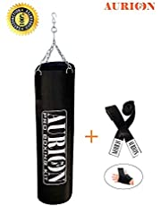 Aurion Filled Heavy Punch Bag 4 FEET Boxing MMA Sparring Punching Training Kickboxing Muay Thai with Hanging Chain