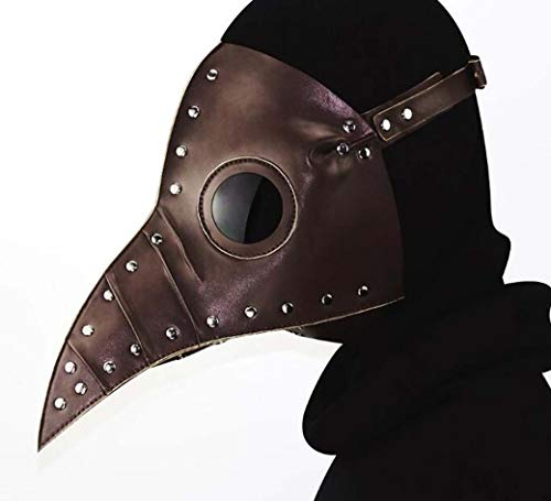 ZTYD Retro Leder Vogel Maske, Halloween Maske, Kostüm Steampunk Gothic Cosplay, beängstigend realistische Prop Gesichtsmaske Party Kostüm Requisiten für Erwachsene,Braun (Gute Kostüm Beängstigend)