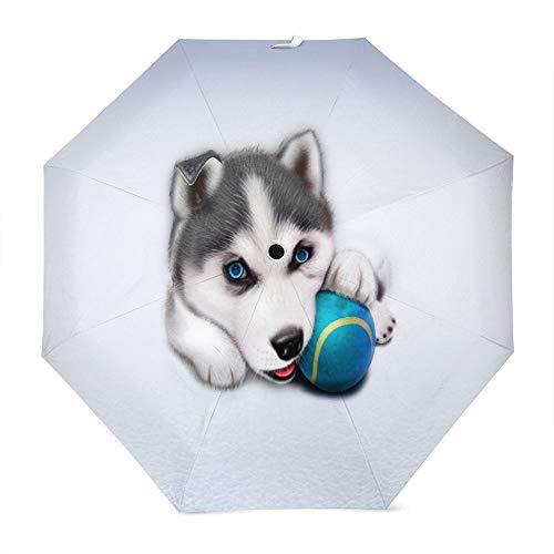Muccum Hand Drawn Stereo Husky Baseball Schnell trocknender, tragbarer, kompakter Regenschirm mit verstärktem, winddichtem Rahmen Auto-Rutschfester Griff für Sonnen- und Regenschirme -