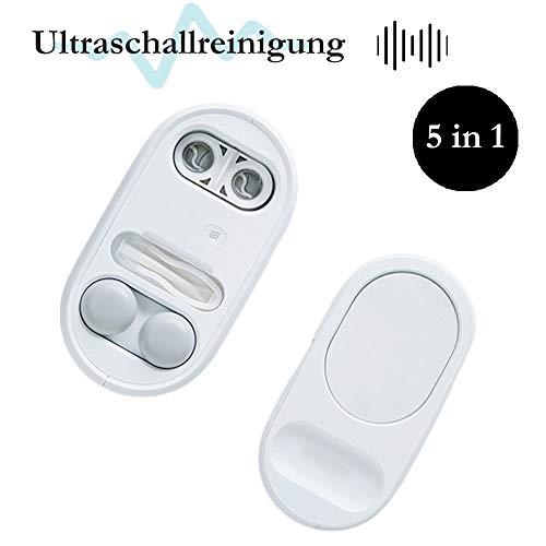 Ultraschallreisetasche für Kontaktlinsen Reinigungsset Sterilisation Desinfektion Objektiv tragbarer Reiniger Ultraschall Schmuckreiniger mit Spiegelpinzette Saugstab Antibakteriell