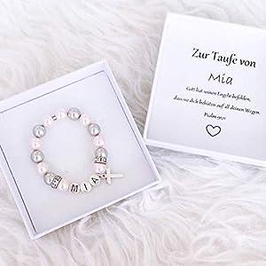 Taufgeschenk Mädchen personalisiert, Taufarmband mit Namen und Perlen handgefertigt, Geschenkbox Taufe
