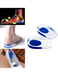 AlexVyan 1 Pair Blue Foot Care Gel Silicone Shock Cushion Orthotic Insole Plantar Heel Support Pad Cup Comfort Heel for Men Boys Size 6 to 11