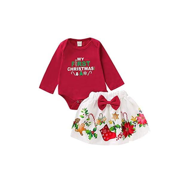 BBSMLIN Disfraces Navidad Niñas Letra de Estampado Mameluco + Dibujos Animados Falda Ropa de Conjunto 1