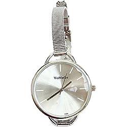 Mode Schmal Edelstahl Band Groß Rund Zifferblatt Damen Armband Uhr