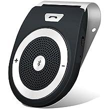 Aigital Bluetooth Manos Libres Coche Kit AUTO POWER ON con Sensor de Movimiento Integrado, reducción de eco y ruido de fondo para la visera GPS y A2DP, música, universal, Al mismo tiempo conectar dos teléfonos