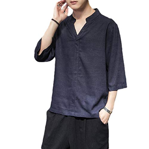 CuteRose Men Linen 3/4 Sleeve Solid-Colored Big & Tall Chinese Style Tees Top Navy Blue 2XL Patch-1/4 Zip Pullover