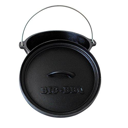 6 Qt-camp (Big-BBQ DO 6.0 Dutch-Oven aus Gusseisen | Fertig eingebrannter 12er Koch-Topf aus Gusseisen | mit Deckelheber und Deckelständer | mit Beinen)