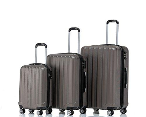 2080 TSA-Schloß Zwillingsrollen 3 tlg. Reisekofferset Koffer Kofferset Trolley Trolleys Hartschale in 12 Farben (Coffee)