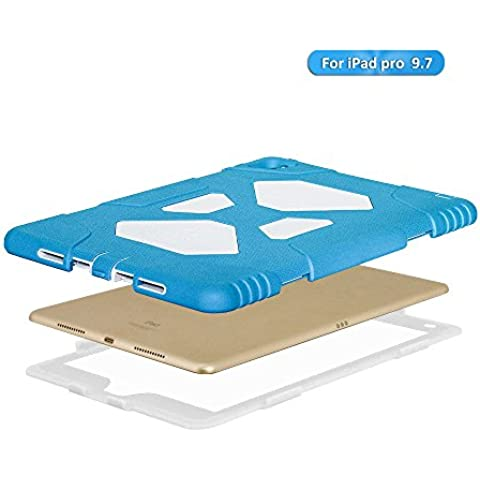 Apple iPad Air Funda – Silicona aceguarder [Shockproof] resistente golpes Prueba de Niños de silicona con protector de pantalla integrado Carcasa Protectora, Light Blue/ White, iPad Air 2 / iPad