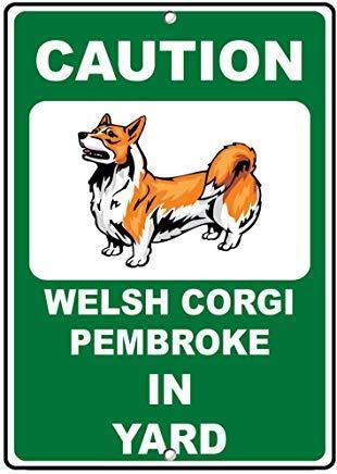 Toddrick Welsh Corgi Pembroke Dog Caution Novelty Fun Vinyl Hazard Zinn schicke Zeichen Vintage-Stil Retro Küche Bar Pub Coffee Shop Dekor 8