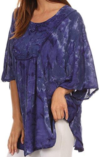 Sakkas cleeo lange, breite Krawatten-Spitze gestickte Sequin Poncho Bluse Top Cover Up ImmerGrün
