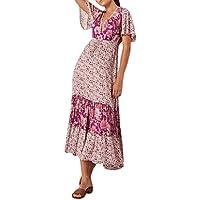 Vestido Largo Retro Elegante Floral Playa Dress Yesmile ❤️ Mujer Talla Extra Sexy Estampado Vintage Cuello en v Manga Corta Suelto división Vestido Largo