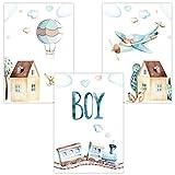 Wandbilder 3er Set für Baby & Kinderzimmer Deko Poster Boy