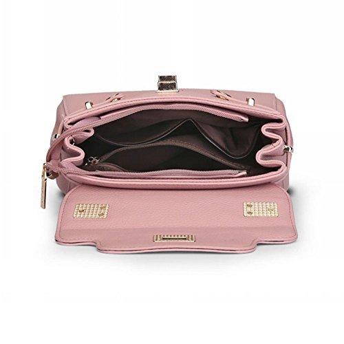 PU Messenger Bag Ornamenti metallici decorativi Borsa A Tracolla Semplice Donna Pink Pink