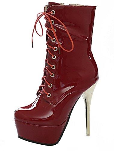 YE Damen Extrem High Heels Plateau Lack Stiefel mit Schnürung Stiletto 14cm Absatz Boots Party...