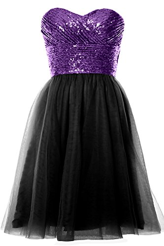 MACloth Women Strapless Cocktail Dress Sequin Short Wedding Party Formal Gown Purple-Black