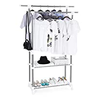 Songmics Multifunctional Garment Rack Coat Hanging Rail Clothes Stand with Shoes Rack Adjustable 96-172 cm - Stainless Steel Clad Pipe LLR03W