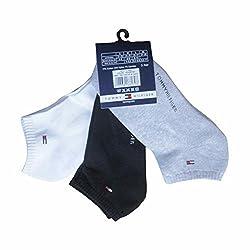 Tommy Hilfiger Men Cotton Ankle Socks (RN56152_White/Black/Gray_Large)