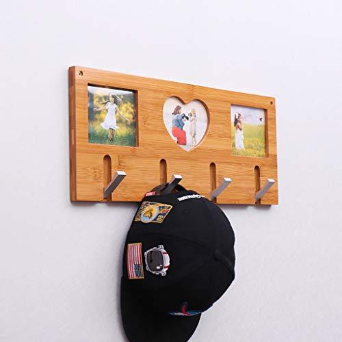 Yudanwin Étagère Ferme Porte-Manteau en Bois, Support Mural pour Porte-Manteau, Porte-Chapeau pour vêtements, Porte pour rangée de Porte à Porte