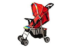 U-Grow Baby Stroller/Pram/Buggy, Extra Large Seating Space, Easy Fold, with Wheel Brakes & Adjustable Backrest for Newborn Baby/Kids, 0-3 Years(RED)