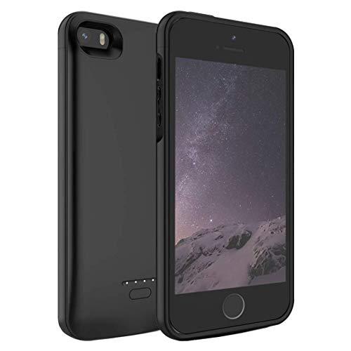 Ennotek Akku Hülle für iPhone SE / 5s / 5, 4000mAh Powerbank Battery Case für iPhone SE/5S/5 (200% Batterie) - Schwarz (Akku Iphone 5s Case)
