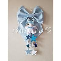 fiocco nascita cascata di stelle e nome bimbo o bimba in pannolenci colori a richiesta stelle e orsetto personalizzabile