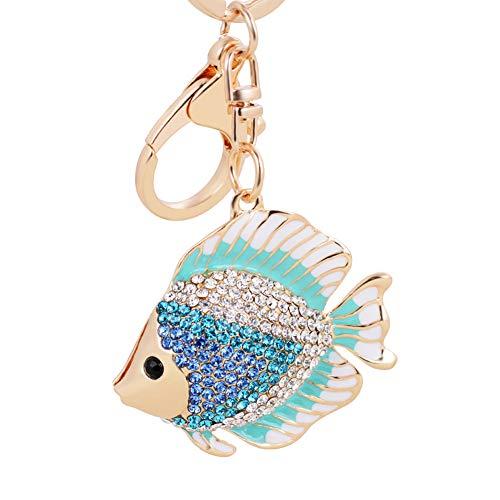 Skyeye Damen Schlüsselanhänger Anhänger Goldfisch Form Legierung Kristall Auto Anhänger Rucksack Anhänger Schlüsselanhänger kreative Geschenk Blau -