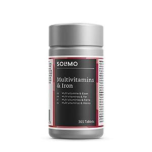 Amazon-Marke: Solimo Nahrungsergänzungsmittel mit Multivitaminen und Eisen, 365 Tabletten