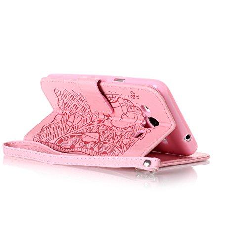 Custodia Galaxy J3 ISAKEN Cover Samsung Galaxy J3 con Strap, Elegante borsa Dente di leone Design in Pelle Sintetica Ecopelle PU Case Cover Protettiva Flip Portafoglio Case Cover Protezione Caso con S rose:rosa