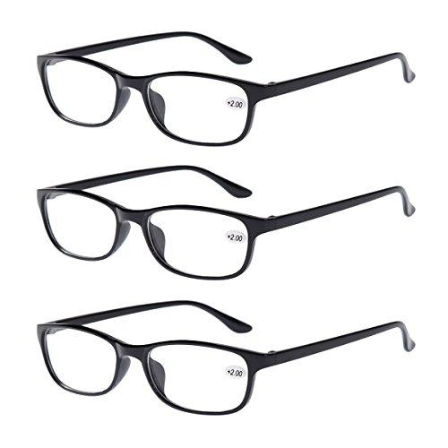 3Paar Schwarz Classic bifokale Lesebrille Herren Damen den täglichen Gebrauch Leser Eyewear Office Home Brillen + 1.0bis + 4.0
