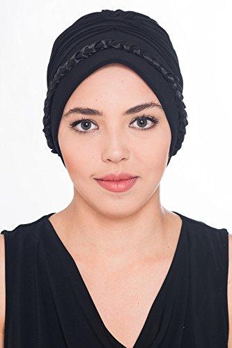 Tressé turban pour, chimo, la perte de cheveux Noir