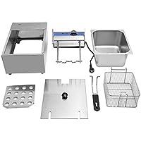 JICHUI Acero Inoxidable Comercial Solo Cilindro eléctrico freidora Tapa de Herramientas de Cocina Cesta Tanque Chip Grasa de Cocina(Plata)