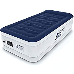 Active Era Single Size Air Mattress - Elevated Inflatable Air Bed, Electric Built-in Pump, Raised Pillow & Structured I-Beam Technology