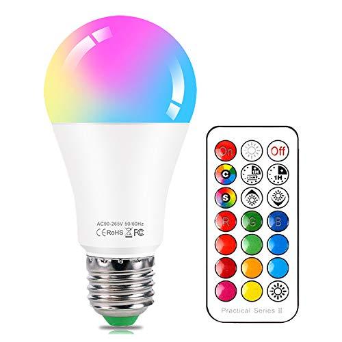 Lampadine Colorate LED E27 10W RGBW Dimmerabile Cambia Colore Lampadina,con 21 Chiave Telecomando,Funzione di Memoria Dual,12 scelte di colore,per Casa, Party, Bar, Discoteca