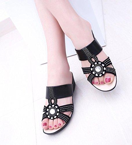 Mlle pente diamant Xia Ji avec des sandales et des pantoufles occasionnels pantoufles antidérapantes grands chantiers Black