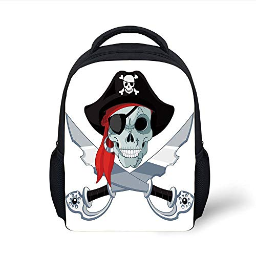 Kids School Backpack Pirate,Skull Criminal Rogue Eye Patch Headscarf Iconic Hat Crossed Knifes Daggers,Black Grey Red Plain Bookbag Travel Daypack - Rogue Pirate