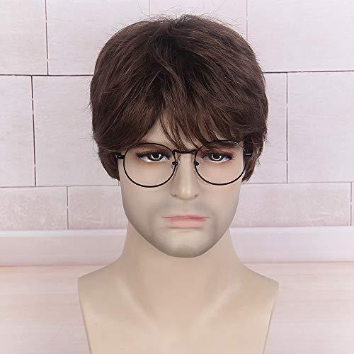 Stfantasy parrucca marrone da uomo naturale sintetico capelli corti a strati per maschio mens wig harry potter cosplay carnevale anime costume party daywear