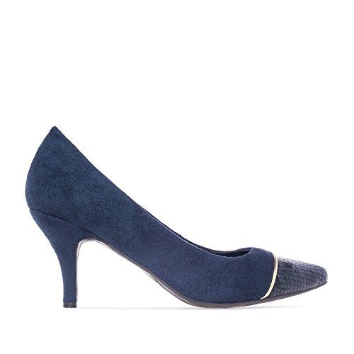 Andres Machado.AM5124.Salons en Nubuck. Petites et Grandes Pointures.32/35-42/45. Pour Femmes Bleu