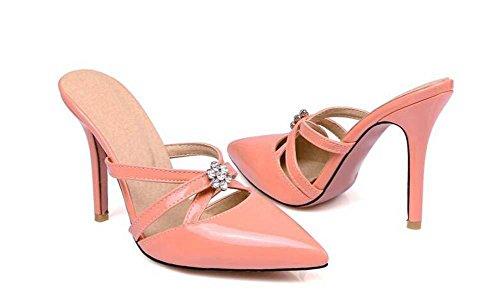 Pompe sandali stiletto Medio Heel elegante a punta-punta Strass donne casuale del lavoro Simple Shoes Europa formato standard 31 32-43 44 45 46 47 apricot
