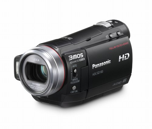 Panasonic HDC-SD 100 EGK Full HD Flash-Camcorder (SD/SDHC, 12-fach opt. Zoom, 2.7 Zoll LCD-Display, Bildstabilisator) schwarz (Lcd-flash Panasonic)
