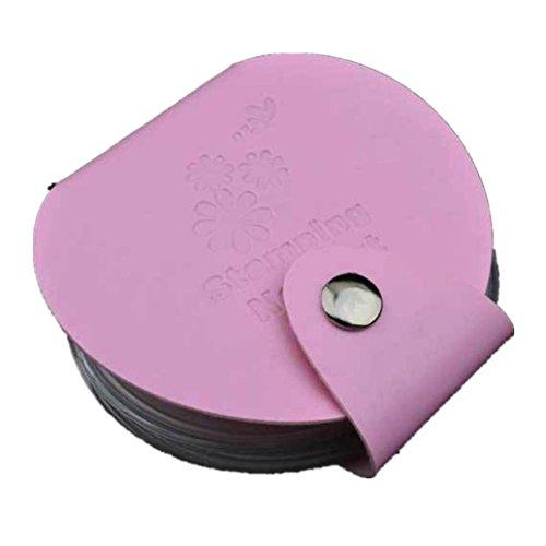 Stampaggio arte DIY del chiodo del piatto di immagine Holder Modello di sacchetto filtro di Stamp Organizer(Rosa), Fami