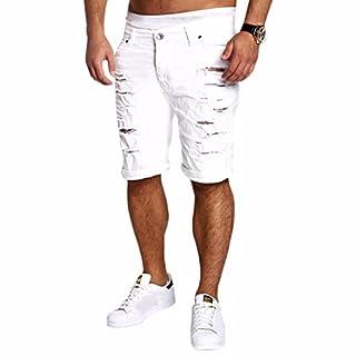 Ai.Moichien Mens Denim Shorts Ripped Holes Jeans Cargo Kneel Length Pants Trousers