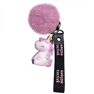 Milnut Elegant Einhorn Plüsch-Kugel Keychain mit Band Schlüsselanhänger Pelz Ball Fahrzeugschlüssel Dekor Handtaschenanhänger (Lila)