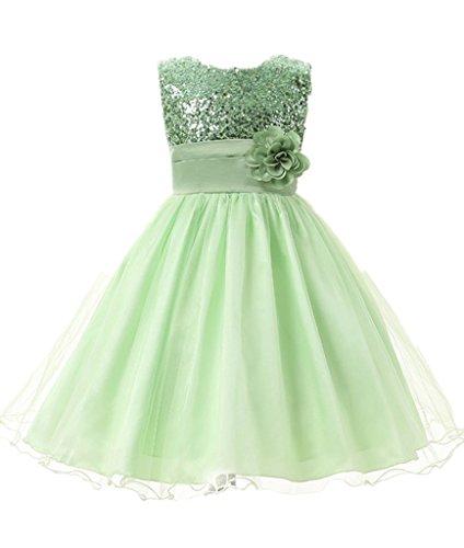 M2C Mädchen Sommer Pailletten-Kleid Party Kleid Festlich Grün (Plus Kostüme Größe Chinesische)